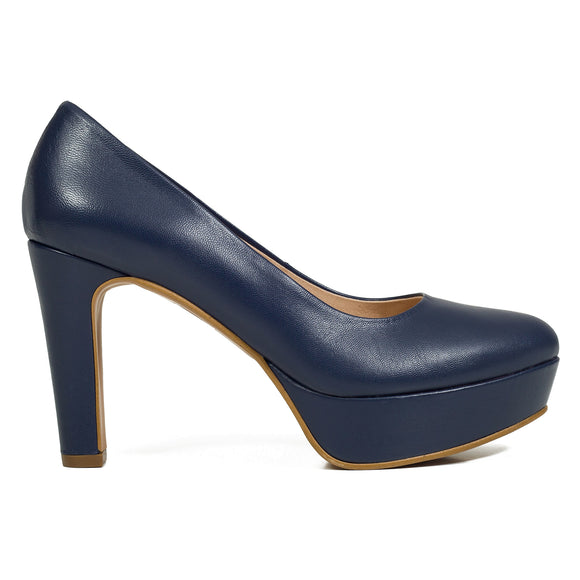 PARTY- MARINEBLAUE PUMPS MIT PLATEAU