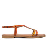 FLACHE – ORANGE DAMEN FLACHE METALLISIERTE SANDALEN