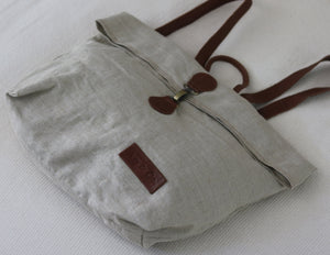 Linen & Leather Fold Backpack