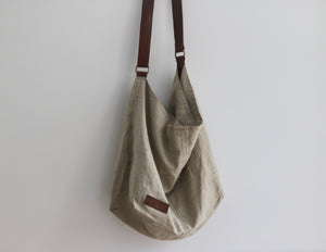 Linen & Leather Oversized Slouch Bag