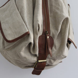 Linen & Leather Pocket Backpack