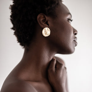 9k GOLD FULL MOON - Organic Form Disc Earrings
