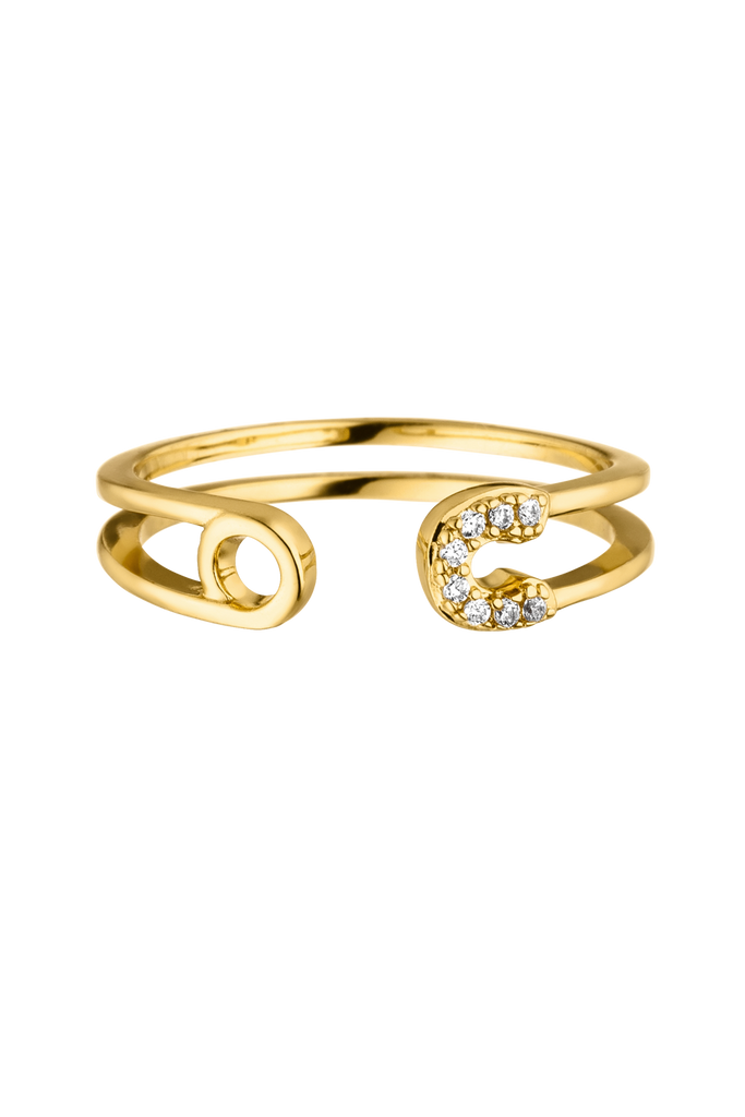 Safety Pin Ring 18k Gold Plated