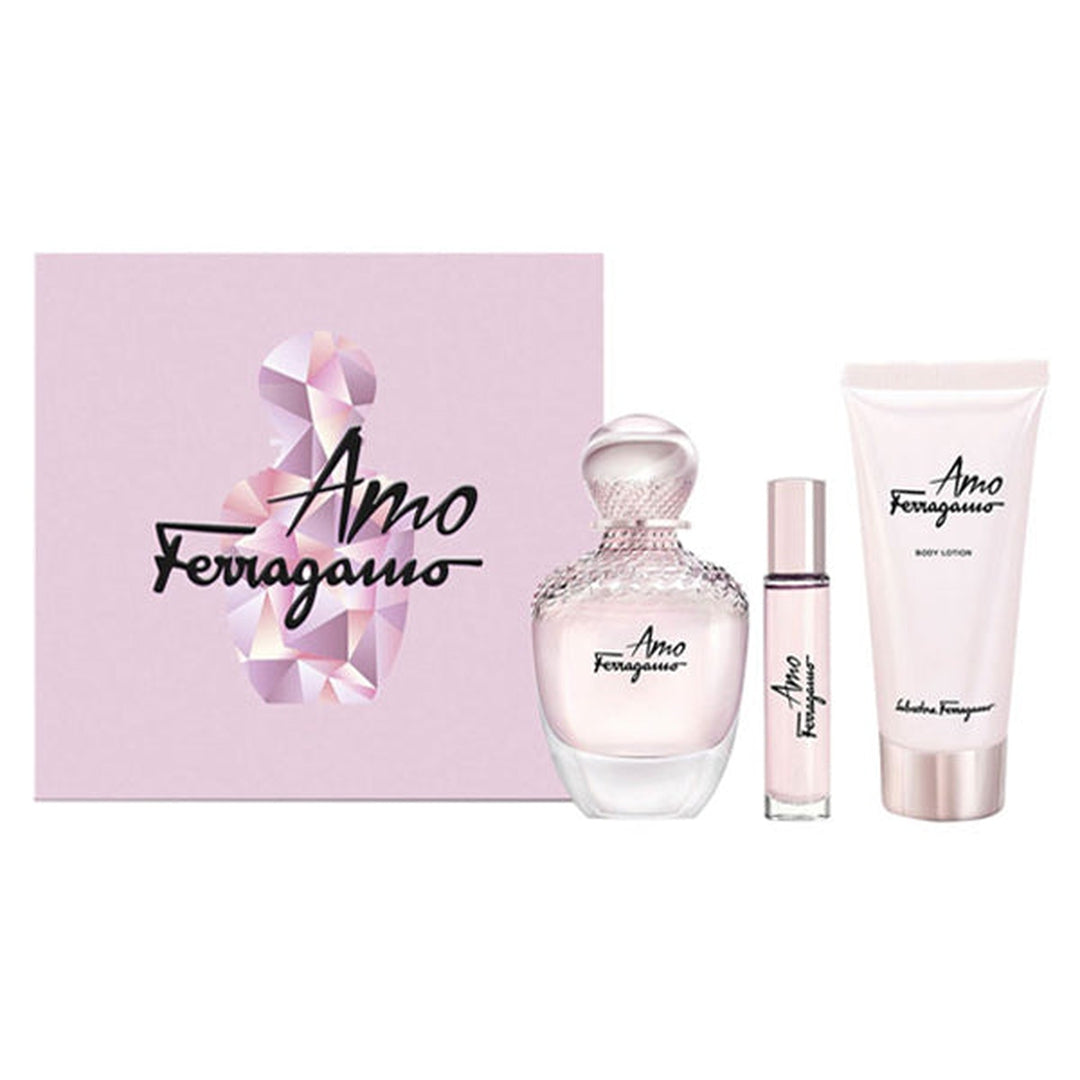SET FERAGAMO  AMO  EDP 100ML + 10 ML EDP + 100 ML B.LOTION