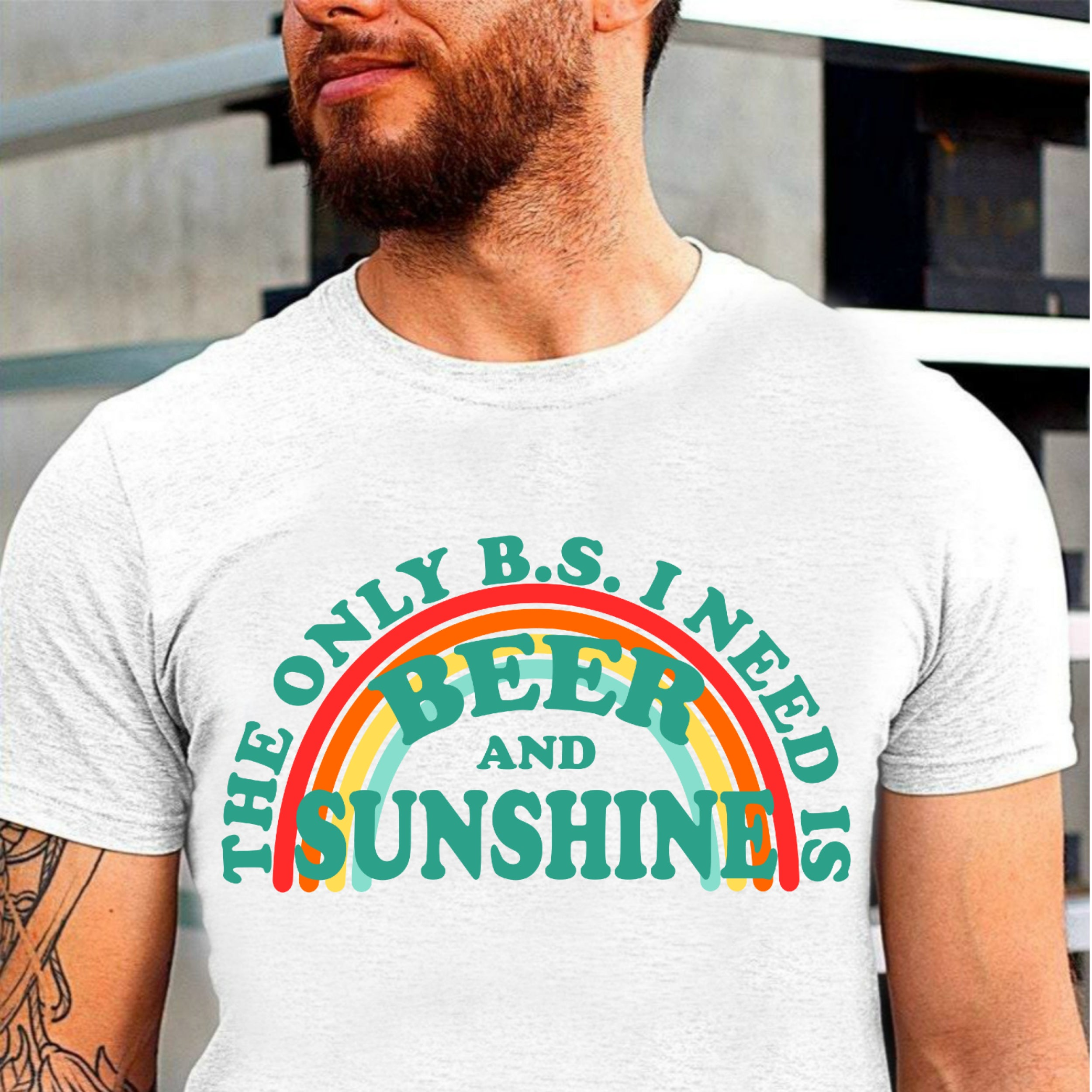 Beer & Sunshine T Shirt Colorful Rainbow Heart Lover Humor Gift The Only BS I Need Tee