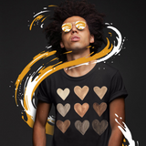 Melanin Hearts T Shirt Black Girl Magic Watercolor Hearts Shades of Melanin Black Pride Black live Matter Tee