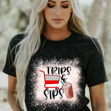 Trips and Sips T Shirt Latte Shopping Runs Coffee Gift for Her Mom Life Tee