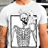 Drinking Coffee Skeleton Tshirt Sugar Skull Face Tee Bone Halloween T Shirt