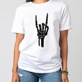 Skeleton Hand Shirt Rock And Roll Sign T shirt Halloween Bone Scary Creepy Tee