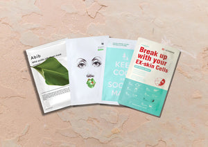 Sheet Mask set for acne and pore care includes: ABIB Mild Acidic pH Sheet Mask Heartleaf fit, OKA Buckle up the Pore Sheet Mask, Keep Cool and Soothe Mak and Leaders Daily Wonders Break up with your EX-skin cells mask