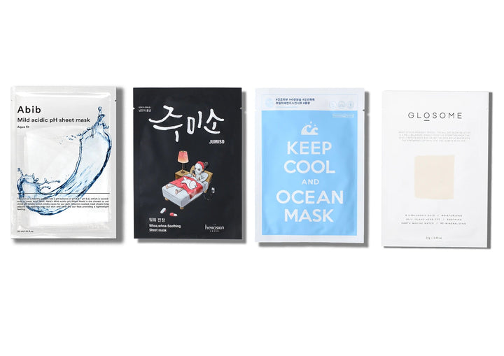 Sheet Mask Set for Dry and dehydrated skin includes: Abin Mild Acidic pH Sheet Mask Aqua Fit, Hello Skin Jumiso Whoa-Whoa Soothing Mask, Keep Cool and Ocean Mask and Glosome All Day Glow Solution Tencel Mask - skin library uk