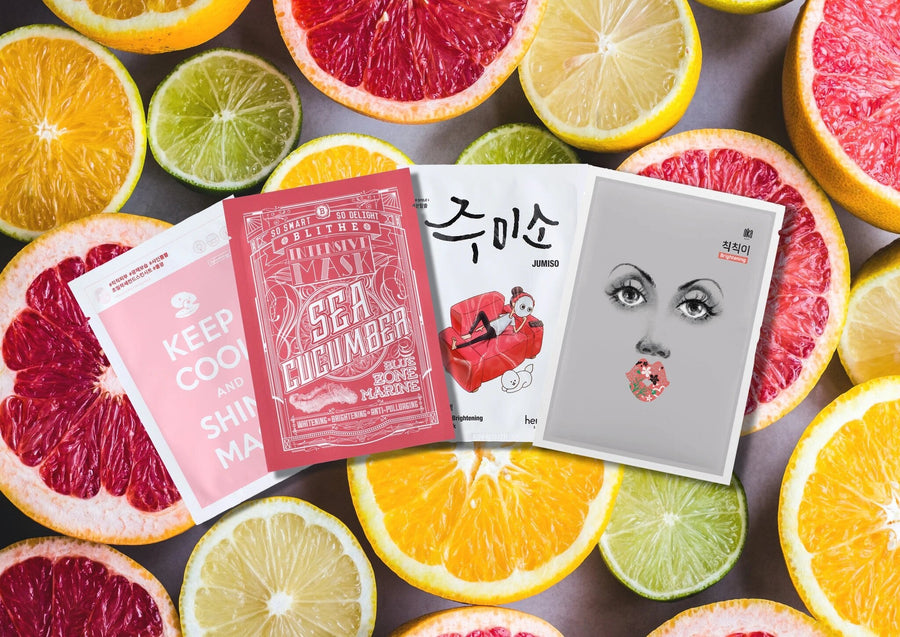 Sheet Mask set for glowing skin includes: Keep Cool and Shine Mask, Blithe Blue Zone Marine Intensive Sea Cucumber Mask, Hello Skin Jumiso Skin Brightening Mask and OKA's Pump up the Brightening Mask