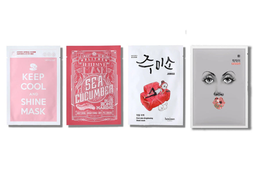 Sheet Masks Set for Glowing Skin includes: Keep Cool and Shine Mask, Blithe Blue Zone Marine Intensive Sea Cucumber Mask, Hello Skin Jumiso Skin Brightening Mask and OKA's Pump up the Brightening Mask