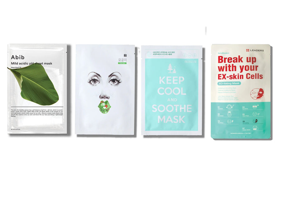 acne-and-pore-care-set-skinlibrary includes: ABIB Mild Acidic pH Sheet Mask Heartleaf fit, OKA Buckle up the Pore Sheet Mask, Keep Cool and Soothe Mask and Leaders Daily Wonders Break Up with your Ex-skin cells mask
