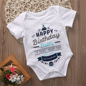 Toddler Infant Newborn Baby Boy Girl Happy Letter Short Sleeve Cotton Casual Outfits Birthday Clothes