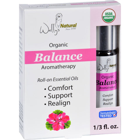 Wallys Natural Products Aromatherapy Blend Organic Roll On Essential Oils Balance