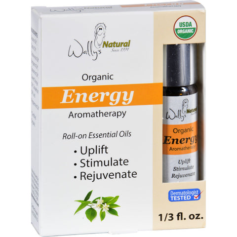 Wallys Natural Products Aromatherapy Blend Organic Roll On Essential Oils Energy