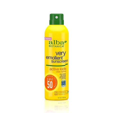 Alba Botanica Sunscreen Very Emollient Clear Spray SPF 50 Active Kids