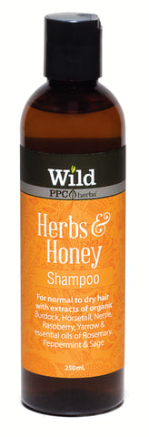 Wild PPC | Herbs & Honey Hair Shampoo for Normal to Dry hair, to moisturize and promote health growth- 250ml