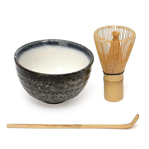 Matcha kit, bamboo matcha whisk, bamboo scoop, ceramic chasen bowl