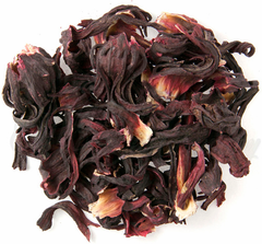 Organic Hibiscus Herbal Tea. Hibiscus is tangy and full of natural Vitamin C. Creates a deep red infusion.
