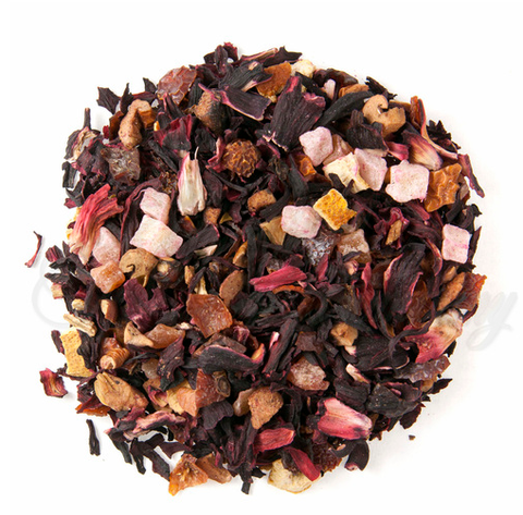Organic Orange and Pineapple Herbal Tea with Apple, Rosehip, and Orange pieces, Hibiscus petals, Natural flavors.