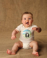 Giant Panda Short-Sleeve Baby Onesie- Bamboo Fabric