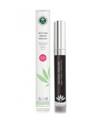 PHB Ethical Beauty | All in One Natural volumising, thickening, lengthen Mascara - Black, smudge proof, vegan, cruelty free makeup