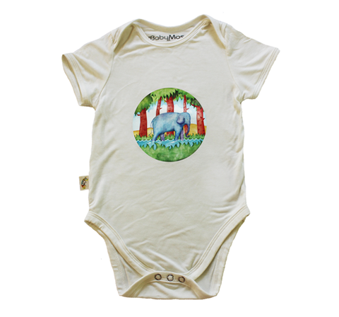 BabyMoso Sumatran Elephant short sleeves onesie, made with Bamboo Fabric