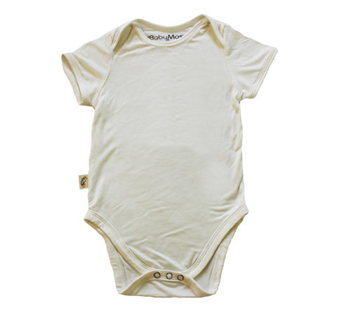 BabyMoso Natural Colour Short-Sleeve Baby Onesie- Bamboo Fabric