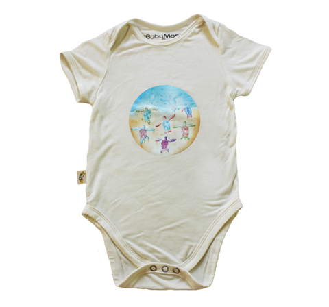 BabyMoso Leatherback Sea Turtles Short-Sleeve Baby Onesie- Bamboo Fabric