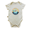 Image of BabyMoso Blue Whale Short-Sleeve Baby Onesie- Bamboo Fabric