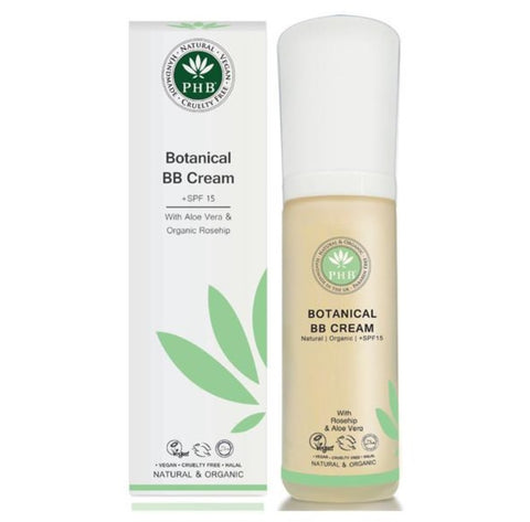 PHB Ethical Beauty | BB Cream SPF15 : Medium, natural, organic, vegan, moisturizing with sun block, sun screen SPF 15 makeup