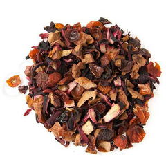 Peach Hibiscus Herbal Tea. Refreshingly peachy with slight tartness and natural sweetness, with Hibiscus petals, Rosehip, Apple, Orange pieces, Natural flavours  Makes a great hot or iced tea!