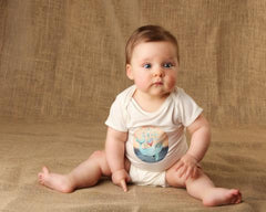 Blue Whale Short-Sleeve Baby Onesie- Bamboo Fabric