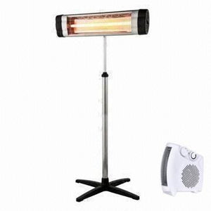 KingMys 1500W Remote controlled Carbon Infrared Indoor/Outdoor patio Heater + 1500W 3 Level heat adjust indoor space heater by E-Joy