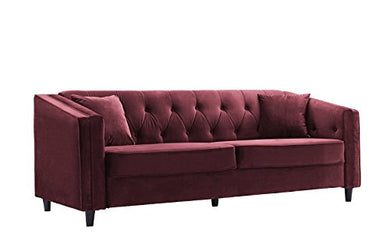 Classic Victorian Style Tufted Velvet Sofa, Living Room Couch with Tufted Buttons (Maroon)