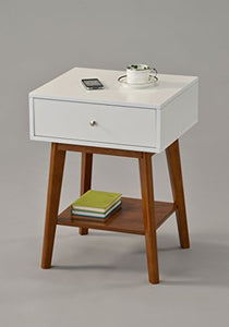 "White / Dark Oak Side End Table Nighstand with Drawer and Shelf 24""H - Mid-Century Style"