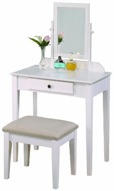 Crown Mark Iris Vanity Table/Stool, White Finish with Beige Seat