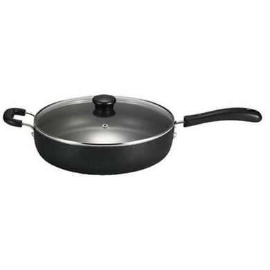 T-fal B36090 Specialty Nonstick Dishwasher Safe Oven Safe Jumbo Cooker Saute Pan with Glass Lid Cookware, 5-Quart, Black