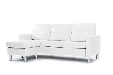 Modern Bonded Leather Sectional Sofa - Small Space Configurable Couch - White