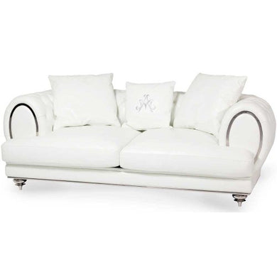 AICO Mia Bella Ellia Leather Standard Sofa in Cream