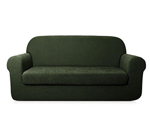 TOYABR 2-Piece Seersucker Jacquard Stretchy Fabric Dinning Room Sofa Slipcovers Fitted Sofa Protector (Sofa, Army Green)