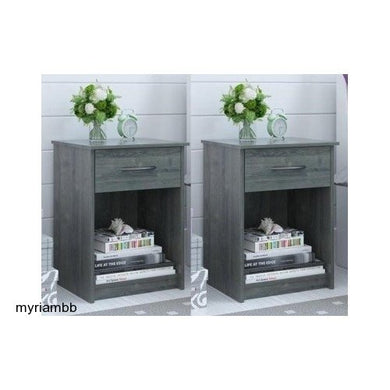 Set of 2 Nightstand MDF End Tables Pair Bedroom Table Furniture Multiple Colors (Gray)