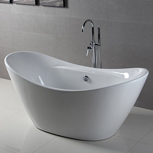 FerdY Bathroom Freestanding Acrylic Soaking Bathtub White Color