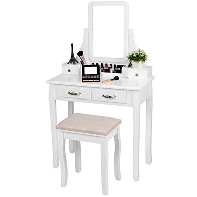 SONGMICS Vanity Set, 2 Large Sliding Drawers, Removable Makeup Organizer for Brushes Nail Polishes, Dressing Table with Mirror and Stool White URDT12W