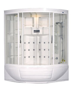 Aston ZAA216 18 Body Jets Steam Shower with Whirlpool Bath, 56-Inch x 56-Inch x 87-Inch, White