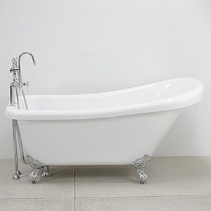 "HLSL57FPK 57"" Heavy Duty CoreAcryl Double Walled Acrylic Single Slipper Clawfoot Bath Tub and Faucet Pack in Chrome"