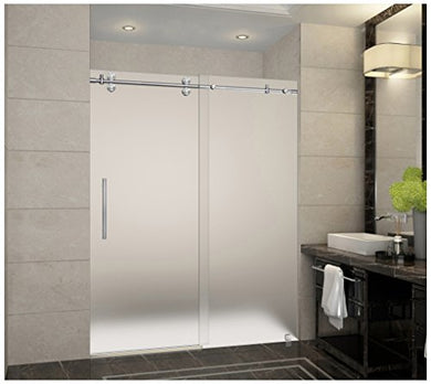 Aston SDR978F-SS-60-10 Langham Completely Frameless Frosted Glass Sliding Shower Door in Stainless Steel Finish, 56