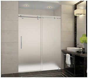 "Aston SDR978F-SS-60-10 Langham Completely Frameless Frosted Glass Sliding Shower Door in Stainless Steel Finish, 56"" to 60"" x 75"""